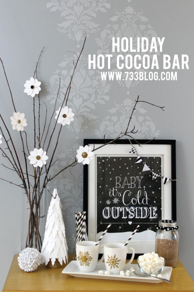 Holiday Hot Cocoa Bar - Like this fun Holiday Vignette with Free printable? I would love your vote! Vote once a day, now through 10/31 via Facebook: http://bit.ly/1rw2zF8