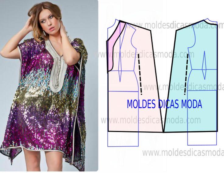 Faça a leitura da transformação do molde de túnica feminina na frente com rigor…