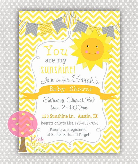You Are My Sunshine Baby Shower Invitation By PinkLemonadeTree, $10.00
