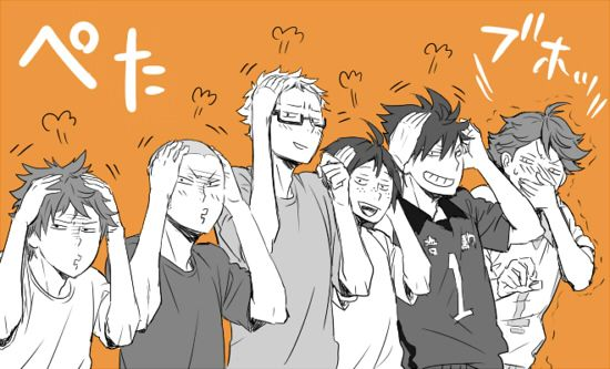 """steppingoncellphones: """" HQ② by モトイヤスヒト Posted with artist's permission. """" corgifoxi: pfft! hahaha! This one is so funny! Just boys doing what they do best, messing around! I like Kuro's face the most!..."""