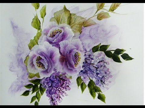 Pintar flores , rosas & glicinias ,one stroke painting roses .