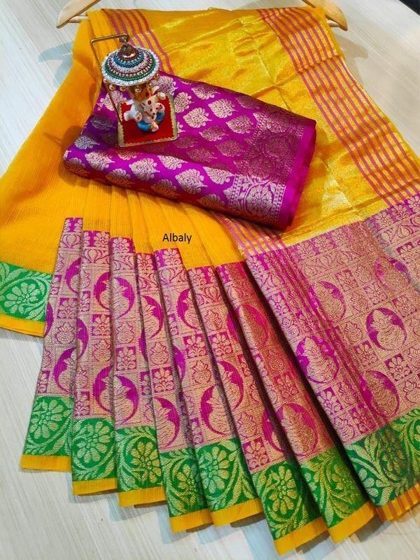 Beautiful Banarsi Kota Silk Zari Weaving Checks Printed Saree With Unstitched Running Blouse Wedding Wear Party Wear Bridal Wear Sari