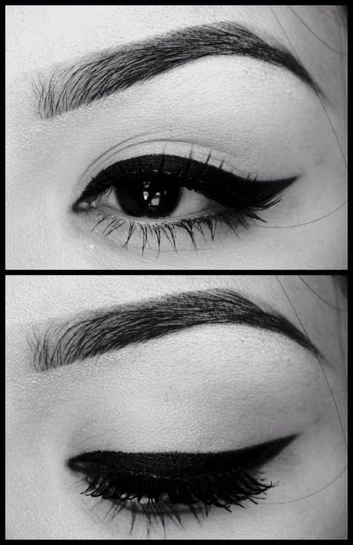 Simple Winged Eyeliner And Eyebrows For Day When You Slant
