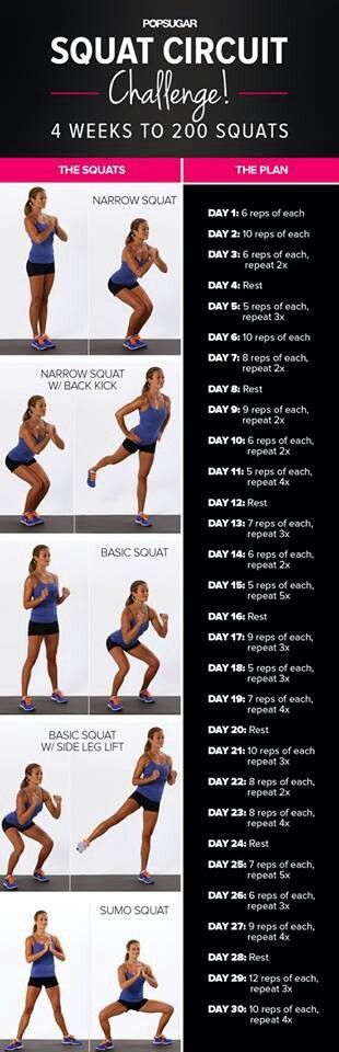 Squat challenge! As the weeks progress, if you add a bar and weights you'll probably see better results