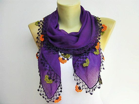 Turkish oya scarf, hand crocheted lace scarf