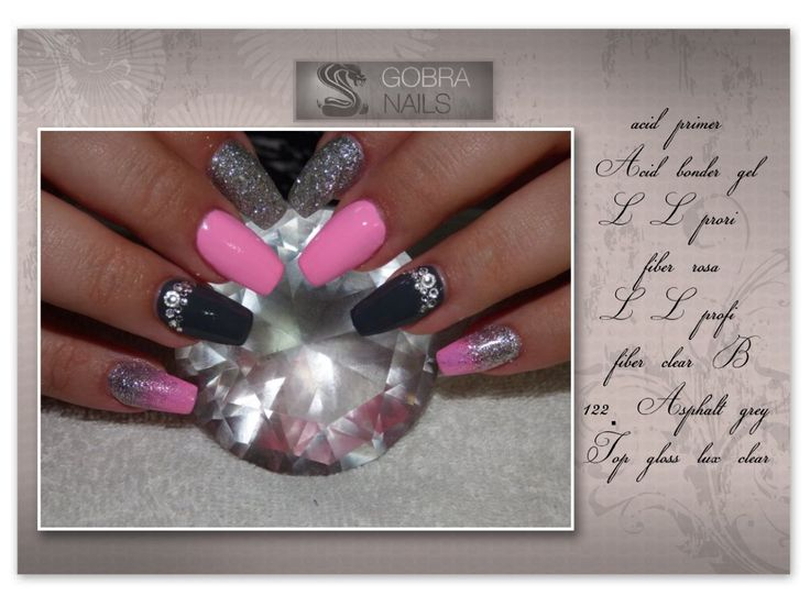 sweet pink, grey, silver, nails