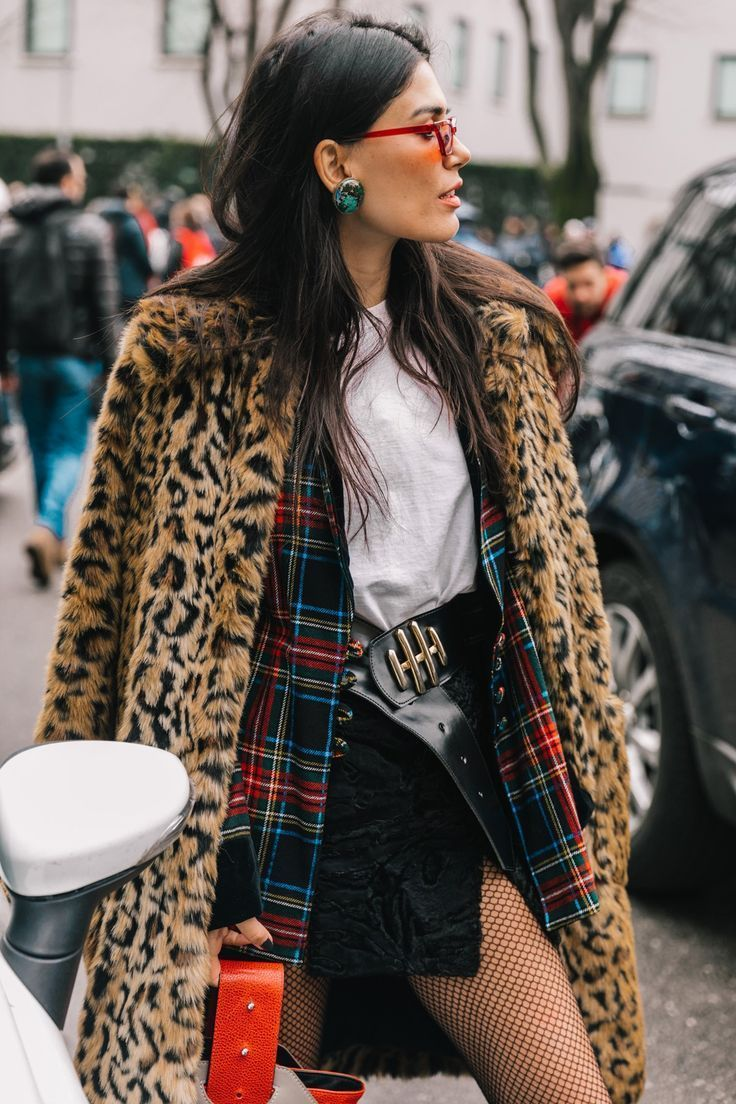 c91abb64c8 Street Style #MFW. White collared blouse with a paired flannel,leopard  print coat, black mini skirt and tights. Visit Daily Dress Me at  dailydressme.com for ...