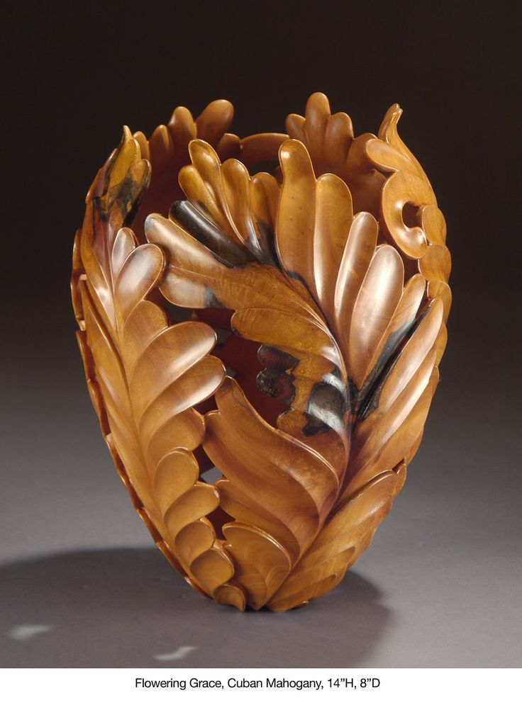 Flowering Grace-Wood Turned Carved Vessel by Ron Fleming