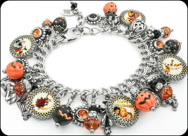 Halloween Charm Bracelet, Halloween Jewelry, Pumpkin Bracelet, Pumpkin Jewelry - Blackberry Designs Jewelry