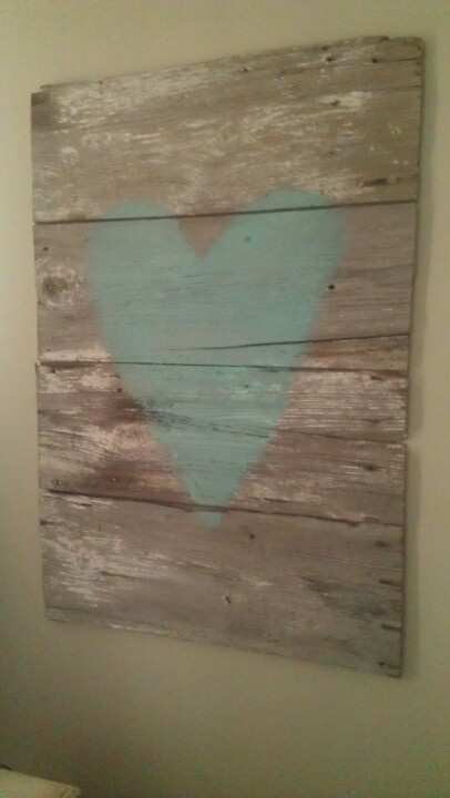 Old Barn Wood With A Turquoise Heart Art