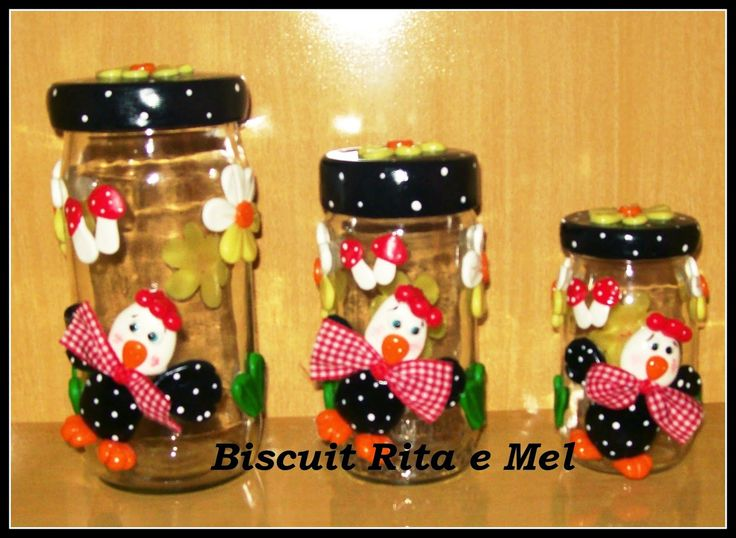 Biscuit Rita e mel: Vidros decorados em Biscuit!