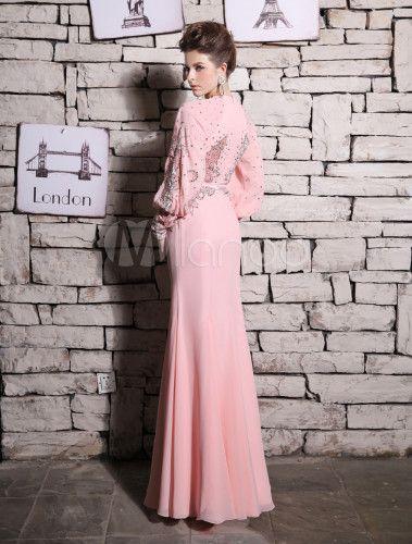 Sirena Vestido de noche rosa con cuentas vestido de fiesta de diamante de imitación