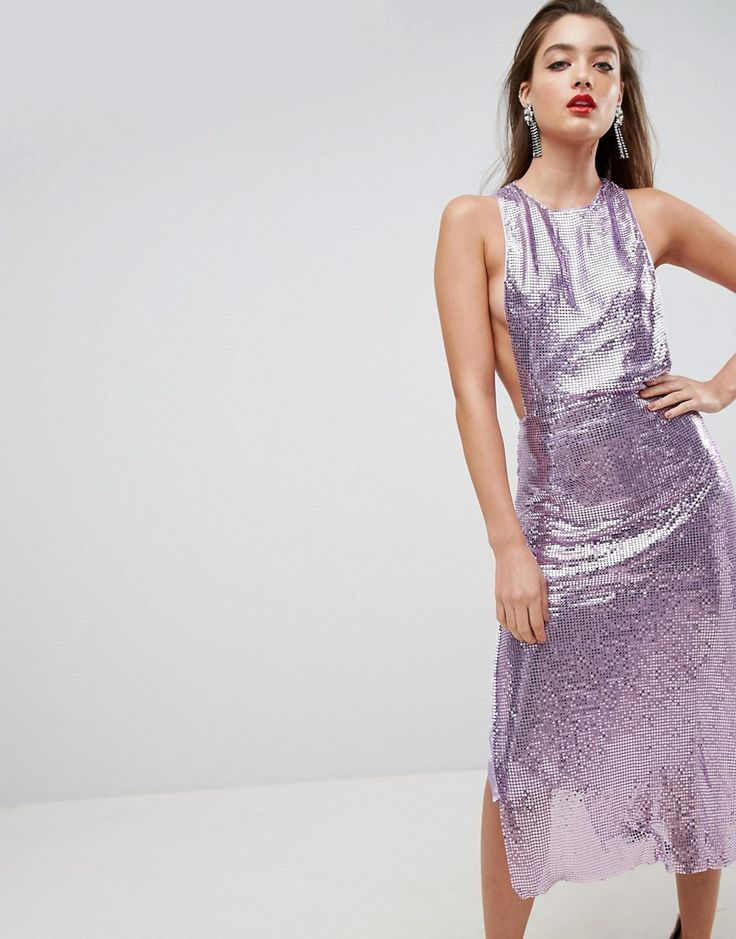 ASOS RED CARPET Chain Mail Midi Dress - Purple