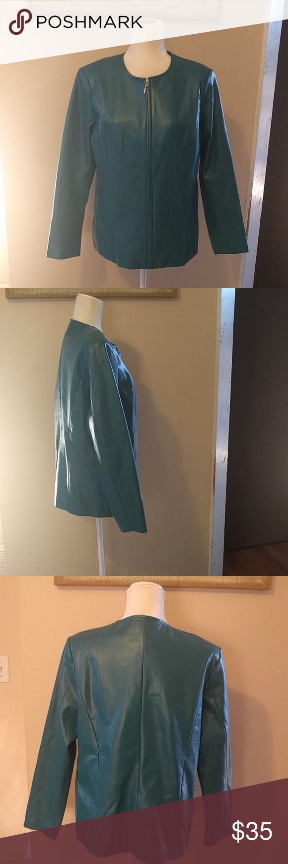 Teal textured Susan Graver  faux leather Jacket Great jacket, can work as a Blazer or light coat for fall. Great condition. Zipper front, two pockets. 40 inch bust. QVC Susan Graver Jackets & Coats