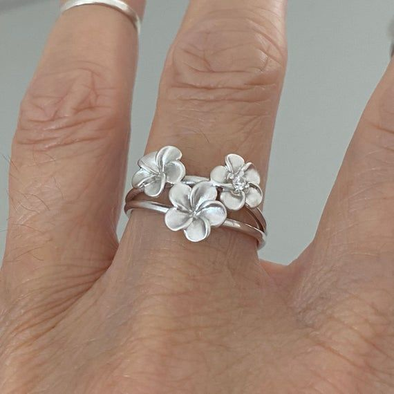 Sterling Silver Satin Plumeria Flower Ring Plumeria Ring Etsy In 2020 Silver Flower Ring Boho Rings Silver Simple Silver Jewelry