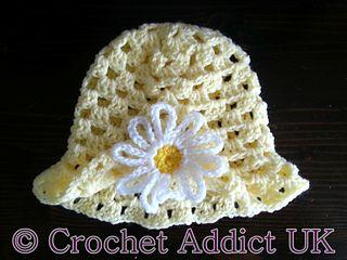 Spring hat-free pattern size 3-6 months, 5.0 hook (H), DK yarn.