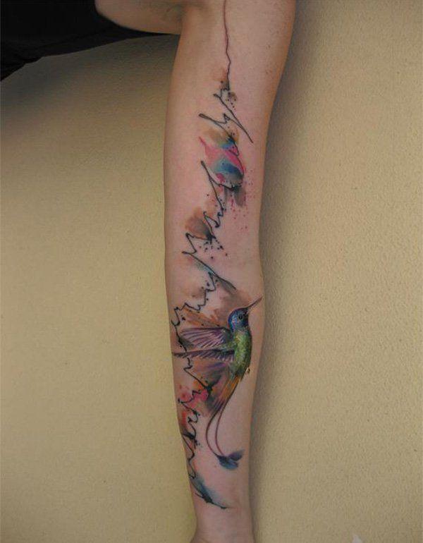 55f68ebe521d0 Watercolor hummingbird sleeve tattoo - 55 Amazing Hummingbird Tattoo Designs  <3 <3