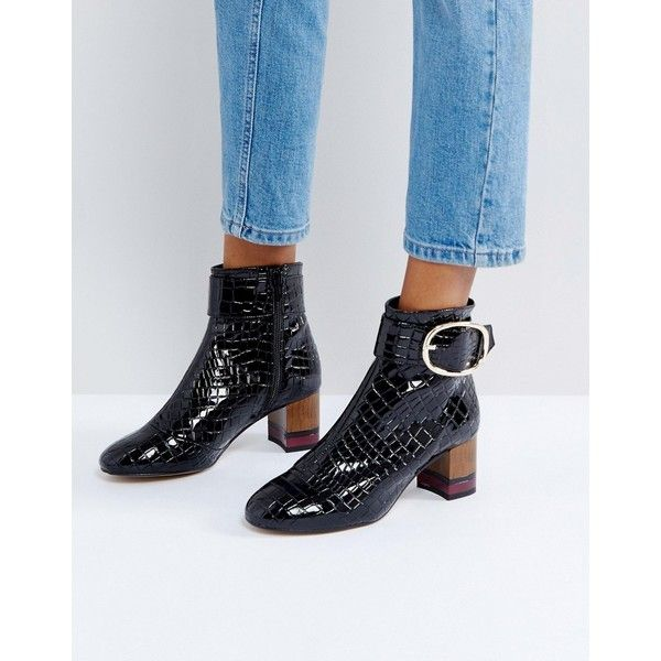 KG by Kurt Geiger Ringo Croc Effect Block Heeled Ankle Boots (2.200 NOK) ❤ liked on Polyvore featuring shoes, boots, ankle booties, black, black patent flats, ankle boots, black ankle booties, wedge booties and block heel bootie