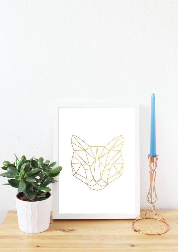 Katze geometrisch Goldfolie drucken A4 Geschenk von LeFabrikArt