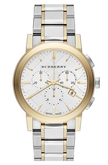 Burberry Check Stamped Chronograph Bracelet Watch, 38mm available at #Nordstrom