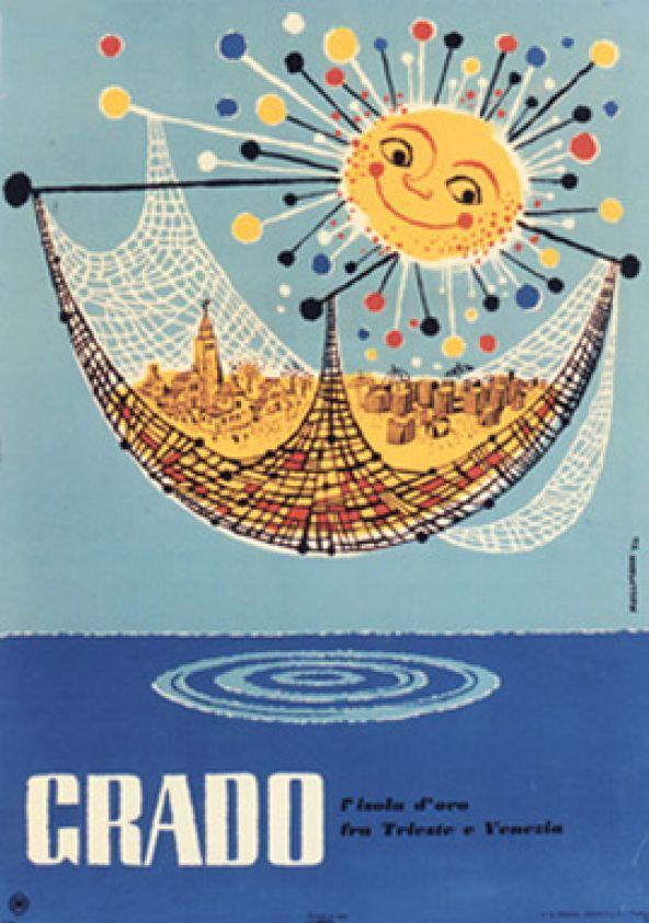 Grado - Italy vintage beach travel poster