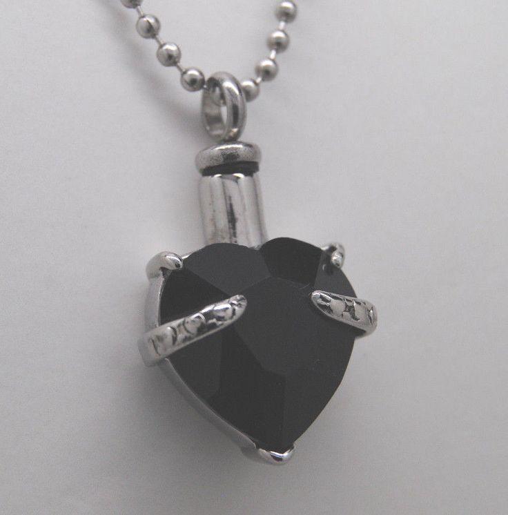BLACK HEART CREMATION URN NECKLACE CREMATION JEWELRY MEMORIAL ASH PENDANT URNS #QueenCityEclectics