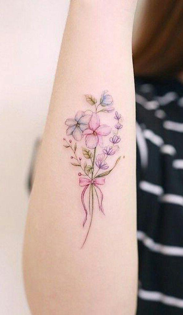 5530fb776 Cute Watercolor Floral Flower Bouquet Forearm Tattoo Ideas for Women -  www.MyBodiArt.com