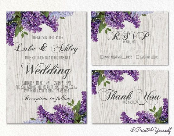 Lilac Wedding Invite // Personalized Printable by Print4Yourself