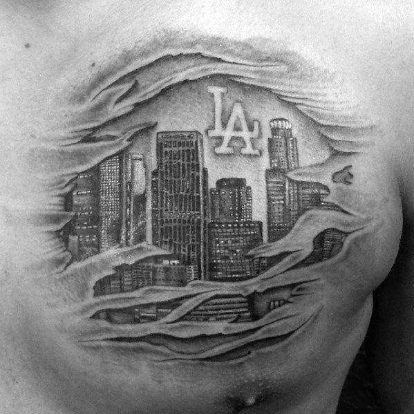 30 Los Angeles Skyline Tattoo Designs For Men Southern California Ink Ideas Skyline Tattoo Los Angeles Skyline Tattoo Designs Men