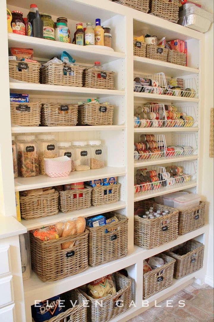 Baskets with Chalkboard Labels in the Pantry from 11 Gables -- I like the wire containers for canned goods too