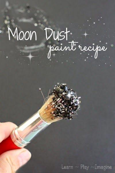 MOON DUST PAINT  Sidewalk Chalks, Water, Glitter, Black Cardstock, Paintbrushes