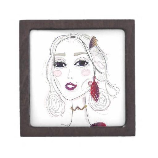Woman designers wooden box with Original art