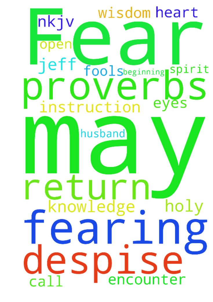 Fear the Lord -  The fear of the LORD is the beginning of knowledge, But fools despise wisdom and instruction. Proverbs 17 NKJV Father God, encounter Jeff with Your Holy Spirit. May my husband open his eyes to You and have a God fearing heart. Call upon his name so that he may return In the name of Jesus I ask. Amen  Posted at: https://prayerrequest.com/t/NF0 #pray #prayer #request #prayerrequest
