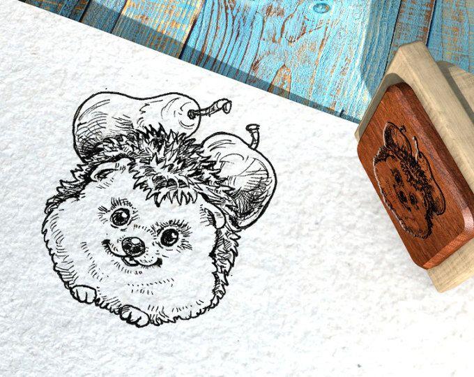 "EX LIBRIS Stamp ""Cute Hedgehog"", Name Stamp, Gift Stamp, Logo Stamp, Custom Rubber Stamps 40x50 mm"