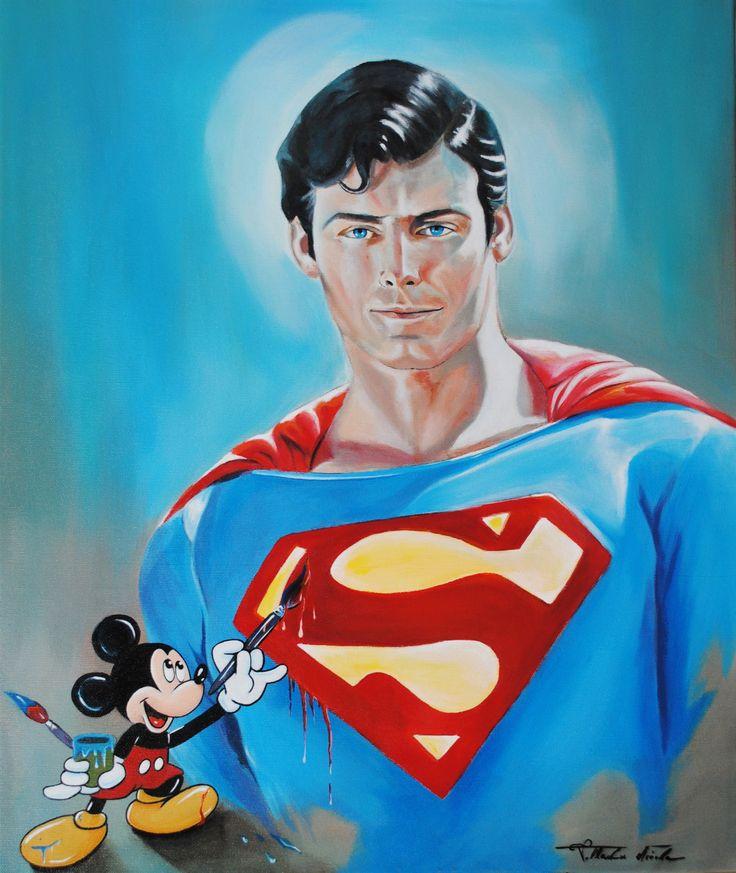 Topolino che dipinge il ritratto di Christopher Reeve