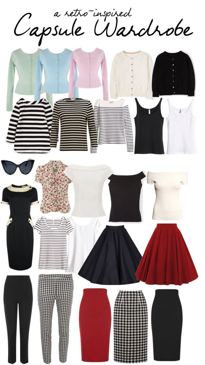 retro-inspired capsule wardrobe : 24 pieces used to create an Audrey-Hepburn inspired classic capsule wardrobe, full of easy mix-and-match pieces