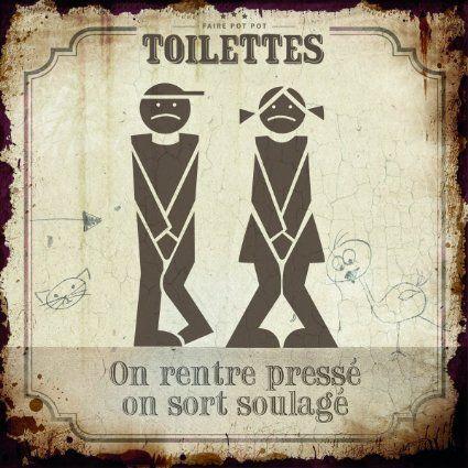Plaque métal déco - Toilettes