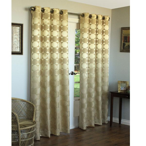 63 Long Gold Hologram Circles And Squares Jacquard Grommet Top Curtain Panel Living