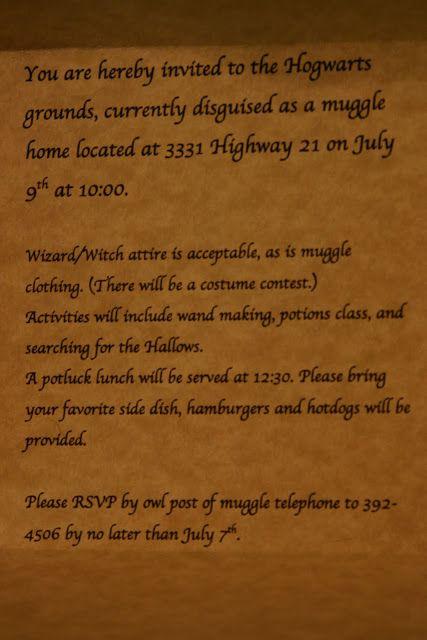 Naphtali's Melody: Harry Potter Invitations