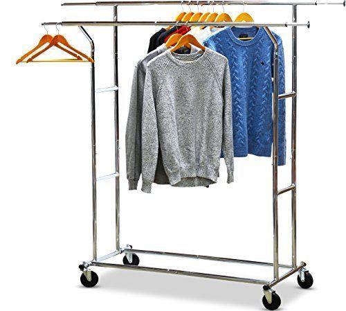 SimpleHouseware Commercial Grade Double Rail Clothing Garment Rack with 4-Inc... #SimpleHouseware