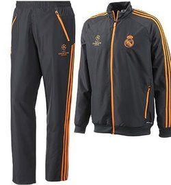 Real Madrid Champions League Presentation Tracksuit 2013-14Real Madrid Champions League Presentation Tracksuit 2013-14 is a very smart tracksuit, black with fluorescent orange, the colors being taken from the third strip, this is ideal to wear for leisure or sport as its comfortable and durable, in stock now at Soccer Box,see more of Real Madrid training kit http://www.soccerbox.com/internationalteams/real-madrid-football-shirts/real-madrid-training-kit/