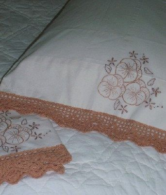 Off White, Natural Pillow Cases with Copper Toned Pansies and Lace