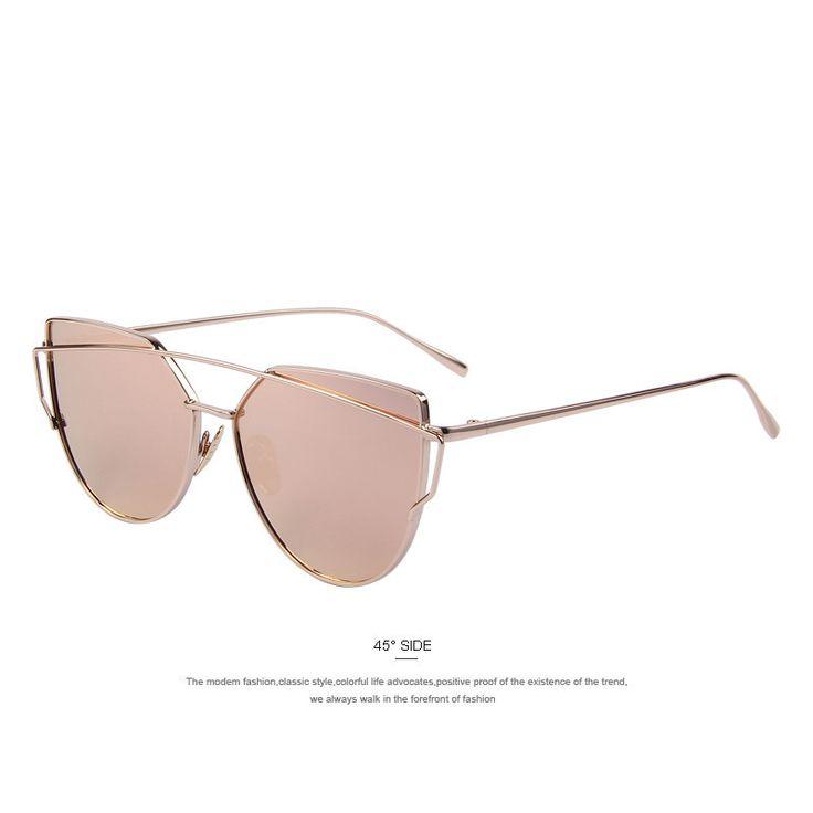 Eyewear Type: Sunglasses Item Type: Eyewear Department Name: Adult Brand Name: MERRYSTORE Gender: Women Style: Cat Eye Lenses Optical Attribute: Mirror Frame Material: Alloy Frame Color: Black Frame C