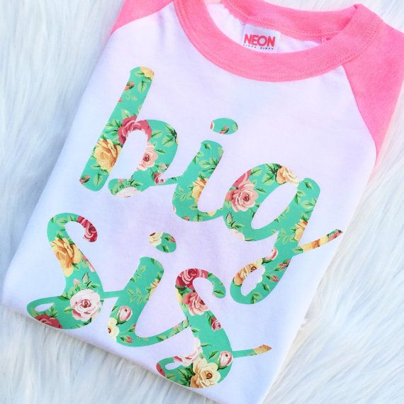 """sweet sprouts girl """"big sis"""" floral chic big sister raglan shirt baby announcement"""
