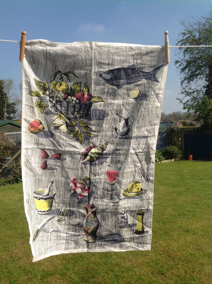 Tea towel vintage linen 1950s perfect condition black grey pink olive green and lemon motifs fish oil wine shells fruit by ReworkedHomewares on Etsy