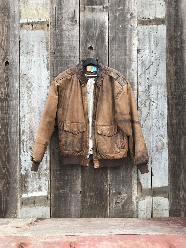 Exceptional Mens Leather Jacket Beautifully Faded Brown  Exceptional Mens Leather Jacket | Beautifully Faded Brown Leather Jacket | Mens Brown Leather Jacket | Map Lined Leather Jacket