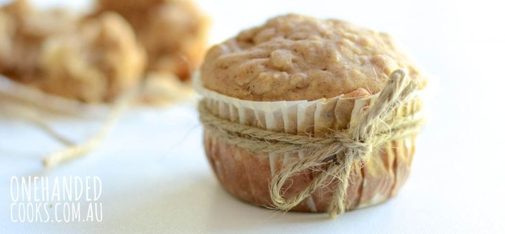 PEAR, MACADAMIA & QUINOA MUFFINS:  A baked treat that's both healthy and yummy.  #onehandedcooks