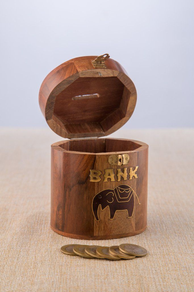Wooden Coin Bank - Oval Design