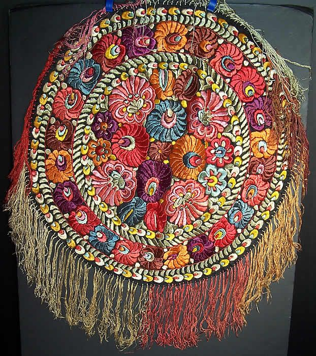 Matyo Hungarian Folk Embroidery Colorful Floral Fringe Round Tablecloth Front view.