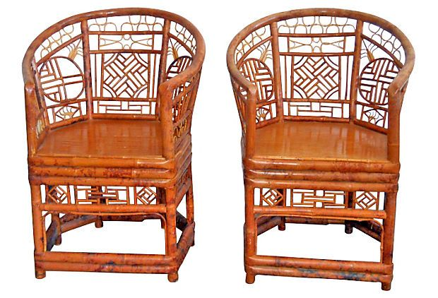 "1970s Chinese Bamboo Chairs,  Pair on OneKingsLane.com described by Theodora Antiques Pair of 1970s barrel-back Chinese bamboo chairs. Seat, 19""H."